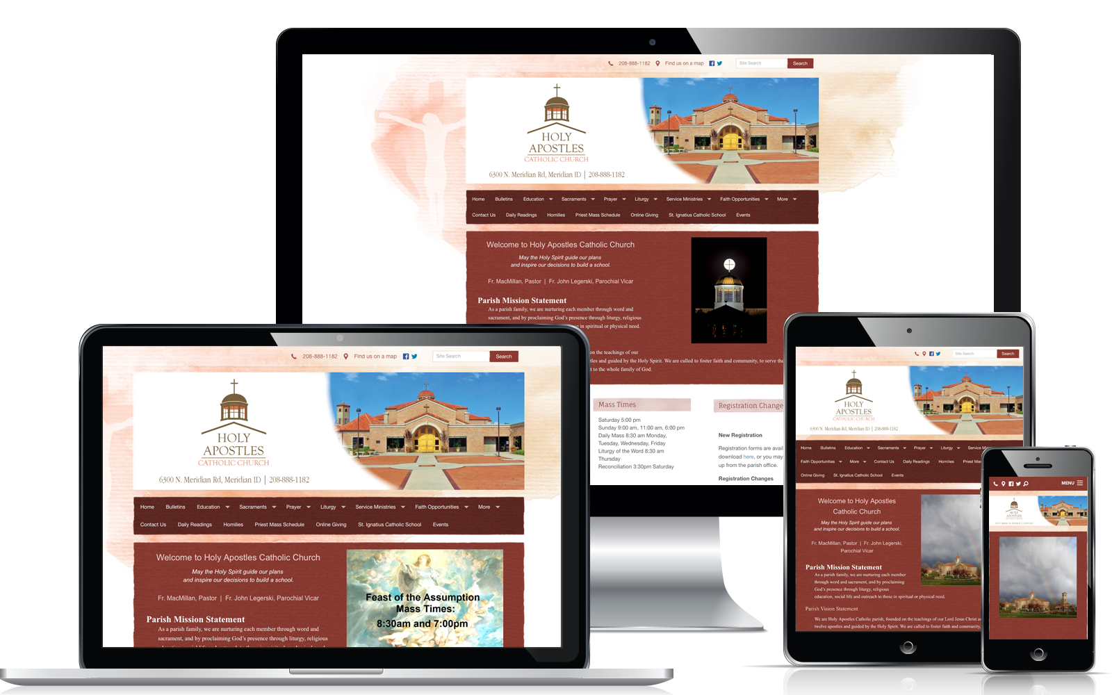 WeConnect Church Website - Holy Apostles Catholic Church and School