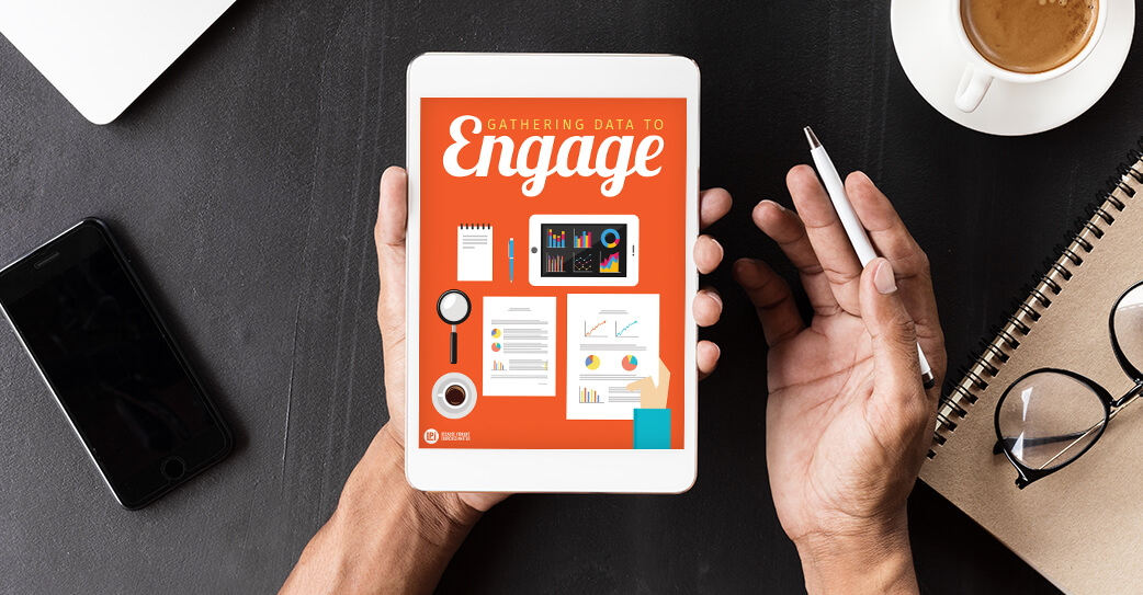 'Gathering Data to Engage' read on tablet