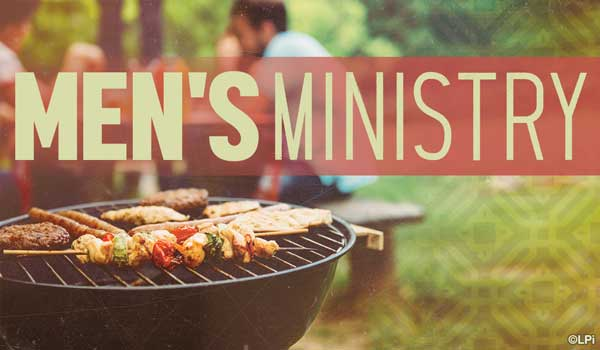 cookout grill with text 'Men's Ministry'