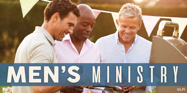 Group of men grilling with text 'men's ministry'