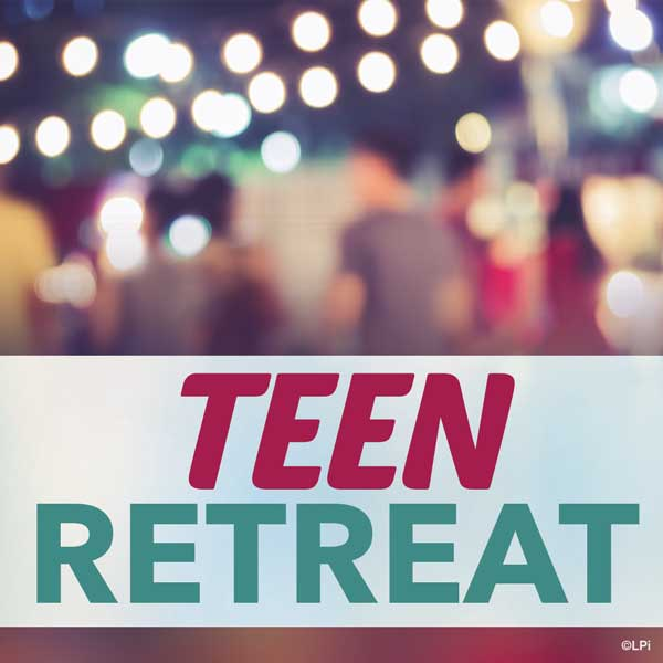 unfocused nightscene with text 'teen retreat'