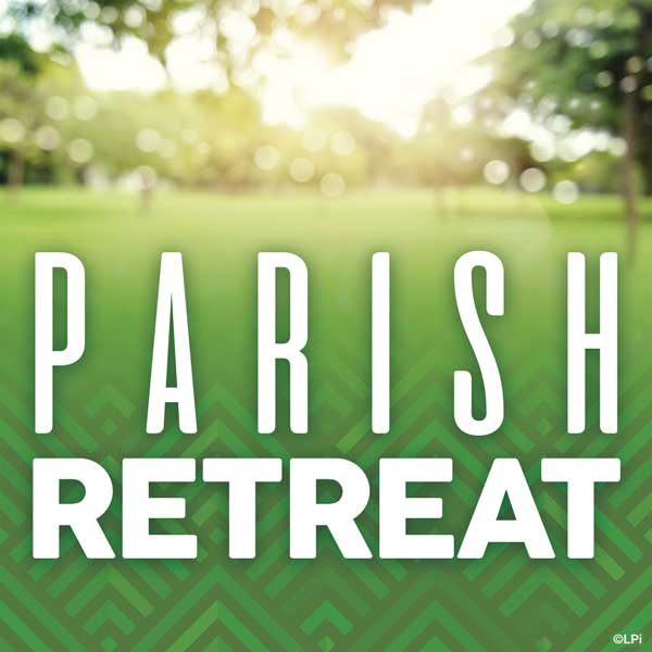 text 'parish retreat' on sunny park photo