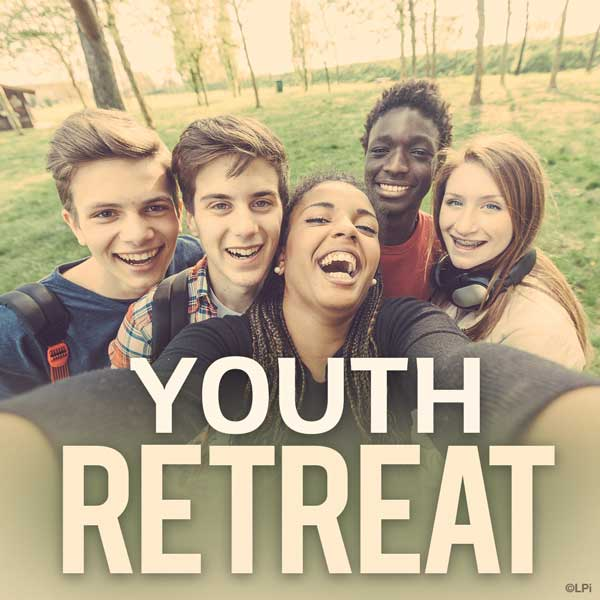 group of happy teens with text 'youth retreat'