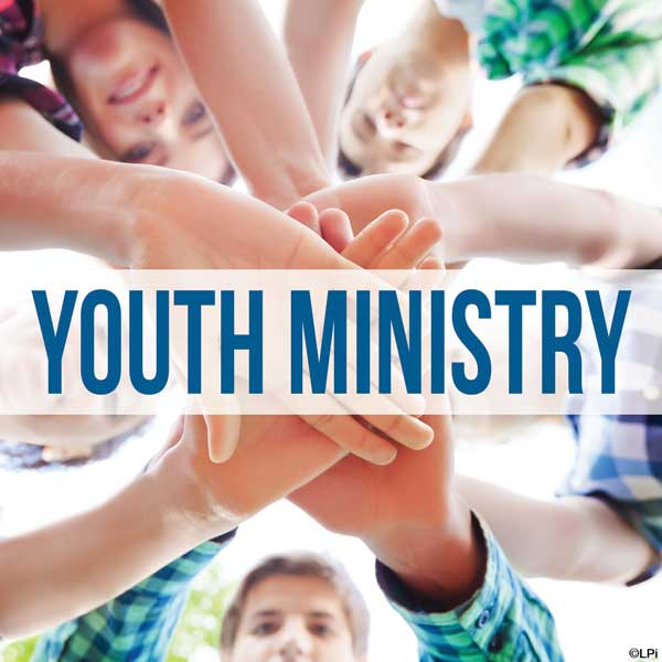 hands in circle to cheer with text 'Youth Ministry'