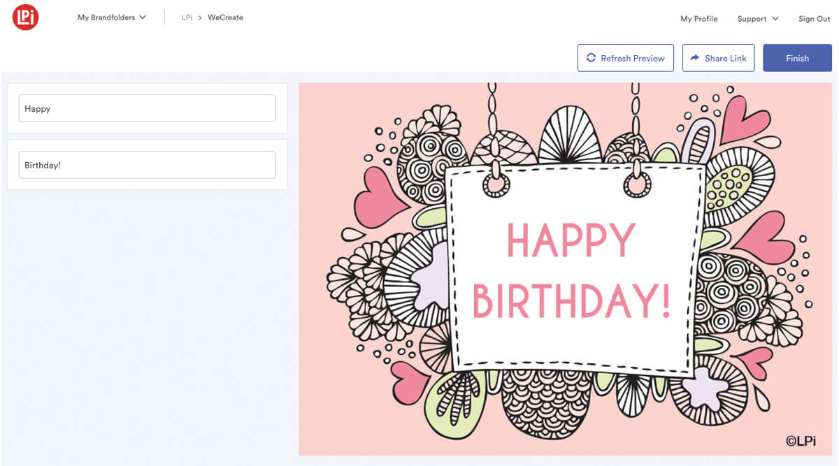 Customizable fields on the left display 'Happy Birthday!'