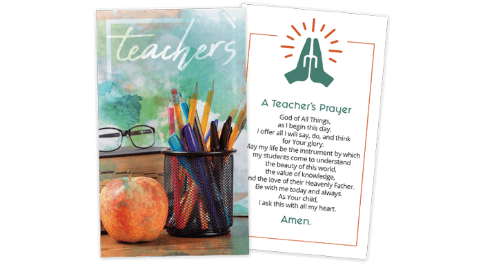 A Teacher's Prayer Card