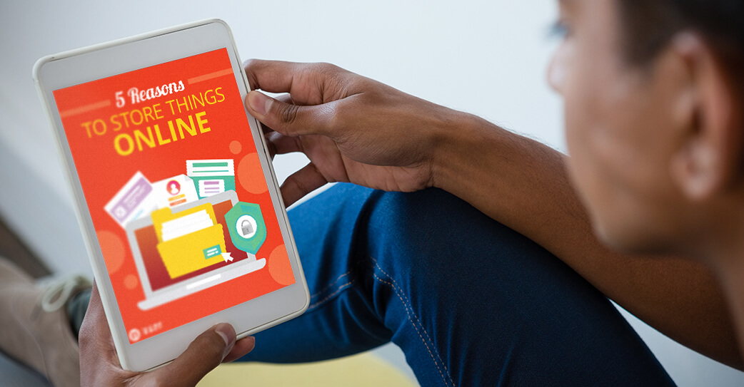 Resource '5 Reasons to Store Things Online' viewed on tablet