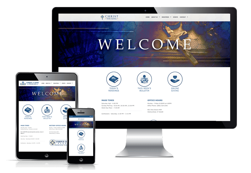 Responsive website display for Christ the King Catholic Church