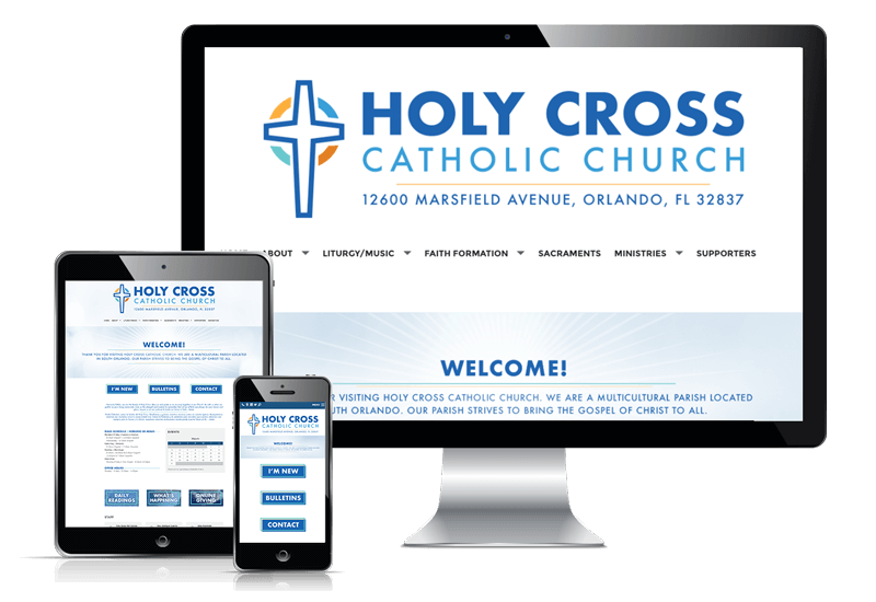 Responsive website display for Holy Cross Catholic church