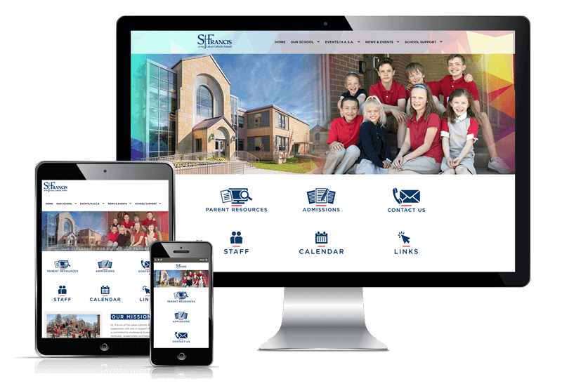 Responsive website display for St. Francis of the Lakes