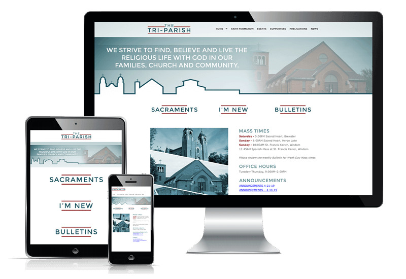 Responsive website display for Tri-Parish Catholic Churches