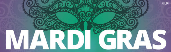 Text 'Mardi Gras' with decorative mask