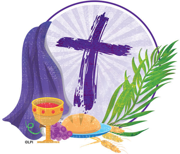 Lent illustration with bread and wine, Psalm Sunday, and cross