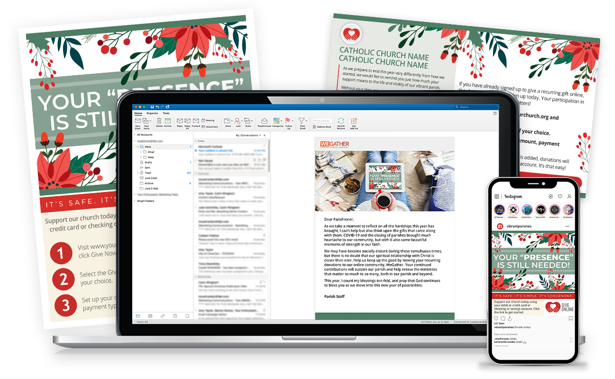 Advent materials of email, flyer, social media, and postcard