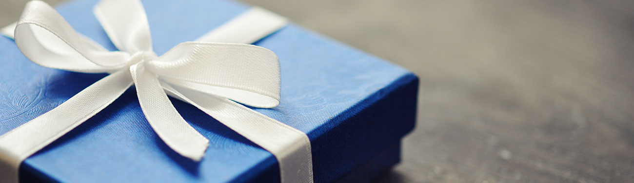 box wrapped in ribbon