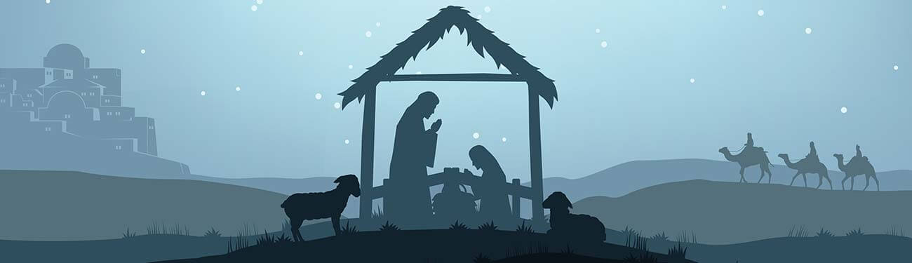 The Holy Family at the manger of Jesus