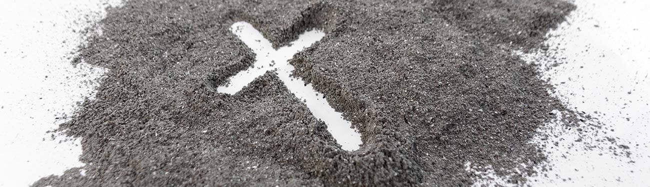 Cross outline in ashes
